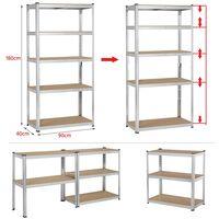 71'' Metal Storage Rack 5 Adjustable Shelves Boltless Shelving 386LB Capacity for Each Shelf