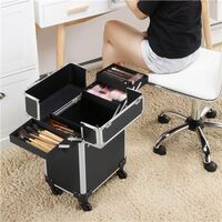 Nail Technician Trolley Case Cosmetics Beauty Trolley Box Travel Makeup Case Storage Vanity Case Storage Hairdressing Organiser for Salon Beauty Studio Black