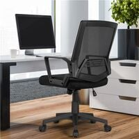 Mesh Chair Ergonomic Office Chair Height Adjustable Computer Chair Mid-Back with Comfort Breathable Lumbar Support - Black