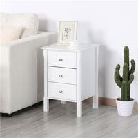 Bedside Table Wooden Nightstand with 3 Drawers, Side Table for Bedroom/Living Room/Hallway - White