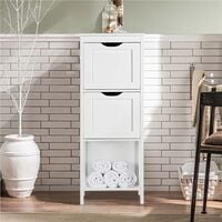 White Bathroom Floor Cabinet, Wooden Side Storage Organizer Free-Standing Cabinet with 3 Drawers, 30x30x89cm
