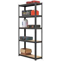 2PCS Heavy Duty 5 Tier Garage Shelving Units Metal Storage Shelves Shed Utility Rack,180cm x 90cm x 30cm,175KG Per Shelf,Black