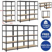 Heavy Duty 5 Tier Garage Shelving Units Metal Storage Shelves Shed Utility Rack,180cm x 90cm x 60cm,175KG Per Shelf,Black