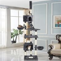 Cat Tree Floor to Ceiling 228-255cm Cat Tower Activity Centre with Scratching Post Condos Hammocks,Dark Grey