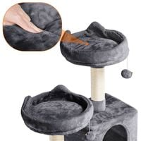 Multi Level Cat Tree Tower Cat Scratch Posts Activity Centre with 2 Condos/2 Plush Perches/Scratching Post/Fur Ball Toy for Medium/Large Cats,Dark Grey