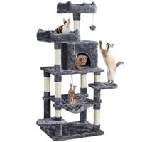 Multi Level Cat Tree Tower Cat Scratch Posts Activity Centre with Condo/Plush Perches/Scratching Post/Hammock for Medium/Large Cats,Dark Gray
