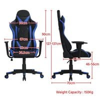 Ergonomic Racing Style Office Chair High Back Gaming Chair PU Leather Desk Chair Executive Computer Heavy Duty Chairs with Lumbar Support, Black/Blue