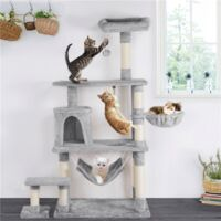 156 cm Extra Large Cat Tree Condo with Sisal-Covered Scratching Post Plush Perch Hammock, Cat Tower Activity Center Kitten Furniture Play House