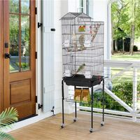 Large Roof Top Parrot Cage Bird Cage for Cockatiel Conure Parakeet Budgie Finch Lovebird with Stand/Toys, Black