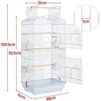 Open Top Large Bird Cage for Budgies Lovebirds Finches Cockatiels Conures Canary Tall Metal Small Parrots Cage Sun Quaker Parakeets Green Cheek Travel Bird Cage White