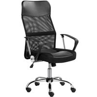 Executive High Back Mesh Office Chair Ergonomic Computer Desk Chair Height Adjustable and Swivel Chair with Armrest and Lumbar Support, Black