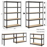 Heavy Duty 5 Tier Garage Shelving Units Metal Storage Shelves Shed Utility Rack,180cm x 120cm x 45cm,175KG Per Shelf