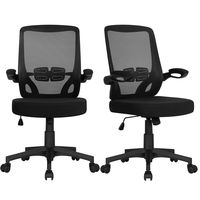 Executive Mesh Office Chair Swivel Desk Chair Mid Back Comfort Breathable Chair with Adjustable Armrests Black