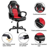 Gaming Chair High Back Ergonomic Racing Chair Office Reclining Chair Swivel Chair, Red