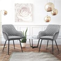 2pcs Fabric Dining Chairs Velvet Armchair Stylish Tub Chairs with Metal Legs Upholstered Seat for Living Room/Kitchen/Counter Lounge Gray