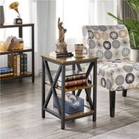 3-Tiers Industrial Side Table Bedside Table X-Frame End Table Nightstand Storage with Shelf for Living room, Bedroom, Rustic Brown