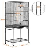 Mobile Large Parrot Cage w/Stand Bird Cage for Conures Parakeets Cockatiels, Pet Cage for Small Animal, Large Rolling Metal Pet Cage with Detachable Stand Black