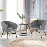 Modern Accent Chair Soft Velvet Tub Chair Side Armchair Sofa Lounge Upholstered Back Sturdy Metal Legs for Living Room Cafe Home, Gray