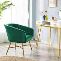 Modern Accent Chair Soft Velvet Tub Chair Side Armchair Sofa Lounge Upholstered Back Sturdy Metal Legs for Living Room Cafe Home, Green