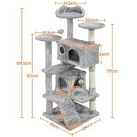 Large Cat Tree Tower Cat Activity Centre for Kittens/Adult Cats, 138cm Cat Tree Tower Cat Scratcher Activity Centres Scratching Post, Light Gray