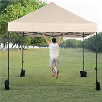 3M x 3M Heavy Duty Commercial Pop-up Canopy with Wheeled Carry Bag and Sand Bags,Beige