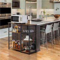 Baker's Rack Industrial Kitchen Island Microwave Storage Rack with Metal Mesh Basket Shelves and 6 Hooks, 90X39X84cm, Standing Coffee Bar Table Metal Frame