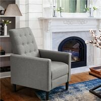 Modern Fabric Recliner Chair Adjustable Sofa Lounge Comfy Armchair with Soft Padded Seat for Living Room/Bedroom/Theater Home Furniture, Gray