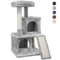 3-Tier Cat Tree Tower, Cat Stand, Cat Scratching Post with Two Condos/Perches/Sisal Rope/Furball in Light Grey