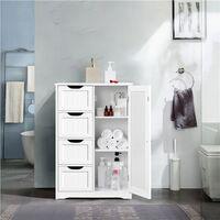 Bathroom Floor Cabinet 4 Drawers & Cupboard Bathroom Storage Unit Hallway Kitchen, White