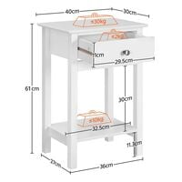 Set of 2 Nightstand Modern End Tables With 1 Drawer,40x30x61cm,White