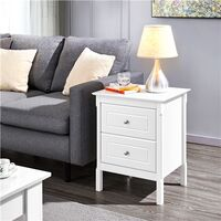 Bedside Table Shabby Chic Nightstand, White Sofa Side End Table with 2 Drawers for Bedroom, Living Room 48 x 40 x 61cm