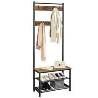 Metal Coat Rack Stand Hall Tree with 9 Removable Hooks & 3-Tier Shoe Shelves, Entryway Coat Stand Multifunctional Storage Organizer,184.5CM,Rustic Brown