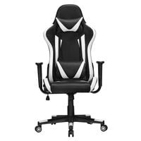 Ergonomic Racing Style Office Chair High Back Gaming Chair PU Leather Desk Chair Executive Computer Heavy Duty Chairs with Lumbar Support, Black/White
