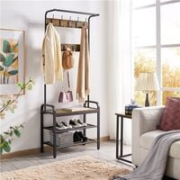Metal Coat Rack Stand with 2 Shelves & 23 Ball-End Hooks, Hall Tree Coat Hanger Stand, Heavy Duty Coat Stand, 182.5cm, Rustic Brown