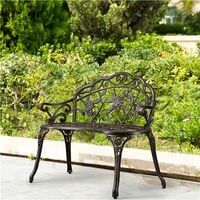 Aluminum Garden Bench Outdoor Patio Bench Metal Furniture Seating with Antique Rose Design, for Lawn, Front Porch, Path, Bronze