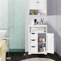 Bathroom Storage Units with Open Storage Shelf Free-standing Floor Cabinets Sideboard with 3 Drawers and 1 Door, Adjustable Shelf for Living Room Kitchen Entryway White