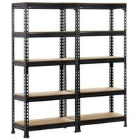 2 x Heavy Duty Black 5 Tier Garage Shed Storage Shelves Shelving Units Metal Boltless Industrial Racking