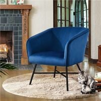 Modern Accent Chair Soft Velvet Tub Chair Side Armchair Sofa Lounge Upholstered Back Sturdy Metal Legs for Living Room Cafe Home,Dark Blue