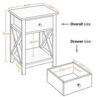 Bedside Tables X Shaped Nightstand Table Drawer with Shelf for Bedroom, Livingroom, Black