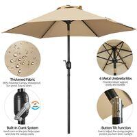 Garden Parasol 7.5ft Patio Umbrella Ourdoor Market Table Umbrella with Tilt & Crank System & 6 Ribs, Tan