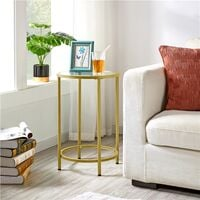 Round Side Table with Tempered Glass Top Accent Bedside Table End Table with Metal Frame Small Sofa Table for Living Room Bedroom, Mustard Gold