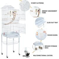 Large Roof Top Parrot Cage Bird Cage for Cockatiel Conure Parakeet Budgie Finch Lovebird with Stand/Toys, White