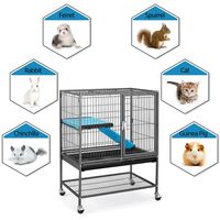 Single Unit Small Animal Cage for Rats/Ferrets/Chinchillas/Guinea Pigs with Removable Ramp & Platform Black