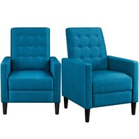 Modern Fabric Recliner Chair Adjustable Sofa Lounge Comfy Armchair with Soft Padded Seat for Living Room/Bedroom/Theater Home Furniture, Blue