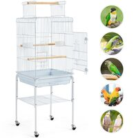 136 cm Rolling Large Bird Cage Parrot Cage for Budgerigars Cockatiels Monk Parakeets with Stand/Wheels, White