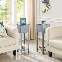 Nightstand Set of 2 Bedside Tables with Drawer Slim Tall Telephone End Table Narrow Hallway Side Table, Wooden, Gray
