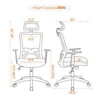Office Chair Egronomic Computer Chair Desk Chair Work Chair with Back Support Adjustable Headrest for Meeting or Conference Mangerial Work, Black
