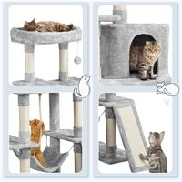Tall Cat Tree Tower Scratching Post Activity Centre Multi-Level Kitten House with Condo Hammock Large Cat Furniture Climbing Tower for Indoor Cats, Light Gray