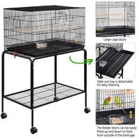 Large Bird Cage with Rolling Stand Iron Flight Cage for Small Birds Parrot/Budgie/lovebird/Cockatiel/Parakeet/Conure/Finch, Black