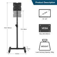 Swivel TV Floor Stand for 13-42 inch LED/LCD/Plasma TVs, Height Adjustable Cantilever TV Stand Slim Corner TV Stand, Max VESA 200x200mm